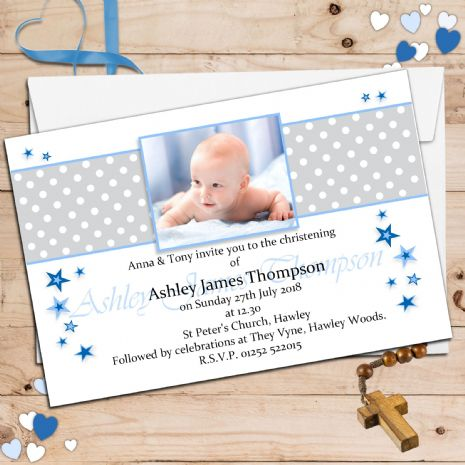 10 Personalised Boys Christening Baptism PHOTO Invitations N99